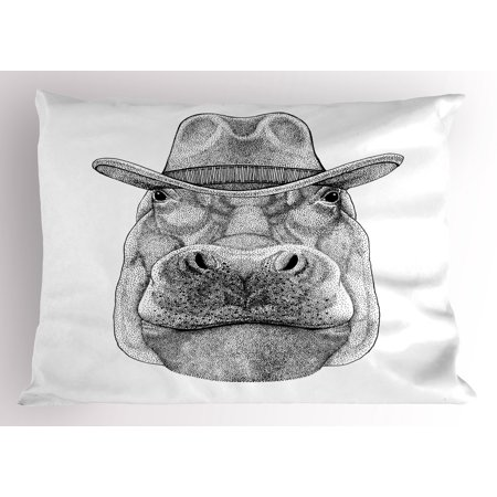 Hippo Pillow Sham Behemoth Animal Figure Wearing Cowboy Hat Wild West Inspired Hand-Drawn Image, Decorative Standard Size Printed Pillowcase, 26 X 20 Inches, Black and White, by Ambesonne