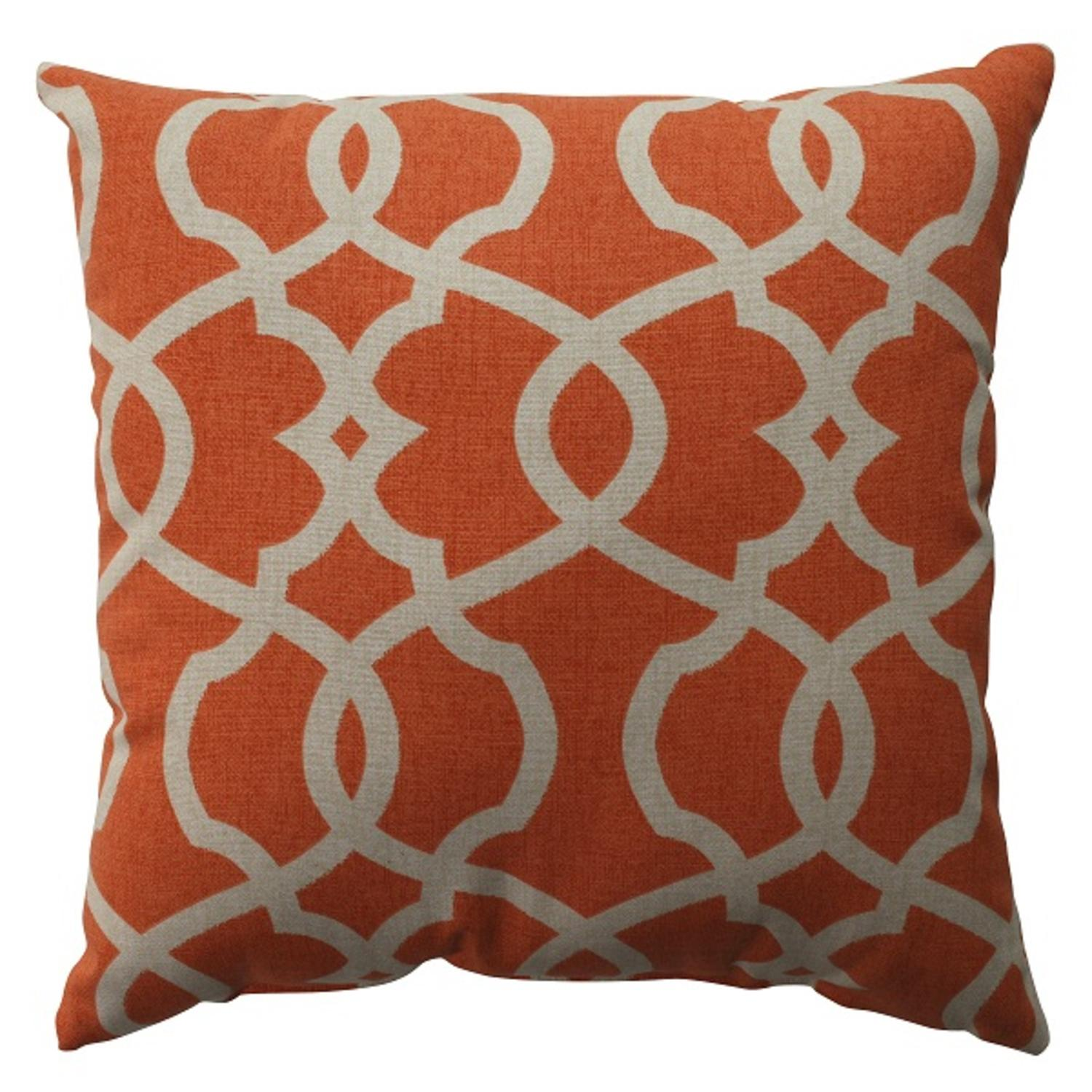 "16.5"" Citrus Orange Scrolling Decorative Throw Pillow"
