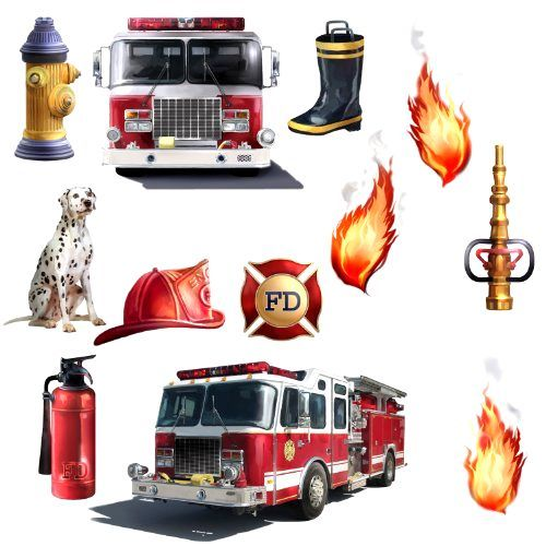 FIRE TRUCKS Wall STICKERS Fire Brigade Engine Room Decor Decals