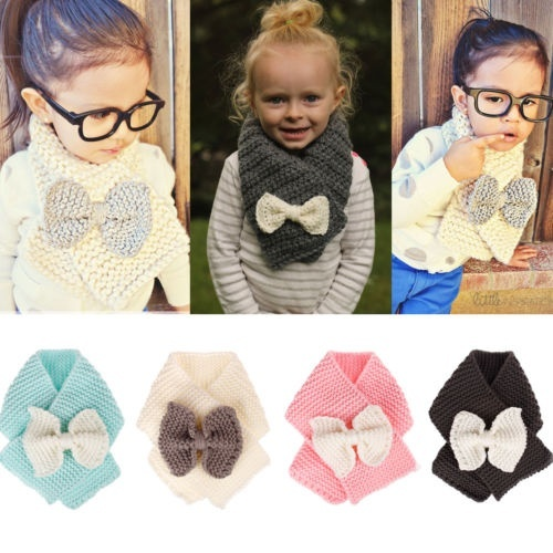 Orityle Winter Knit Bowknot Scarf Baby Girls Loop Scarves windproof neckerchief for Toddlers Kids