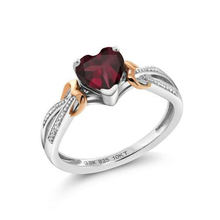 925 Silver & 10K Rose Gold Diamond Ring 0.73 Ct Heart Shape Rhodolite Garnet