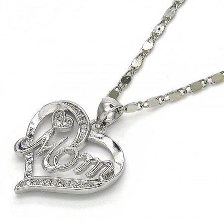 Greatest Love Of All Mom Heart With White Micro Pave Silver Tone Ladies Pendant Necklace By Folks Jewelry