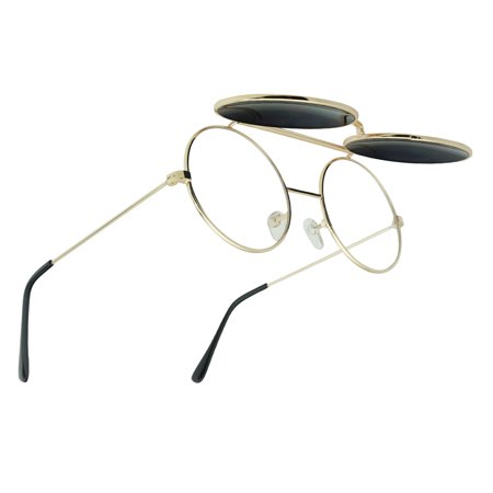Metal Round Retro BOHO Transparent Blue Colored Mirrored Steampunk Flip UP Glasses -