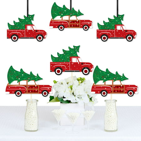 Merry Little Christmas Tree - Decorations DIY Red Truck and Car Christmas Party Essentials - Set of 20 Merry Christmas Decorations