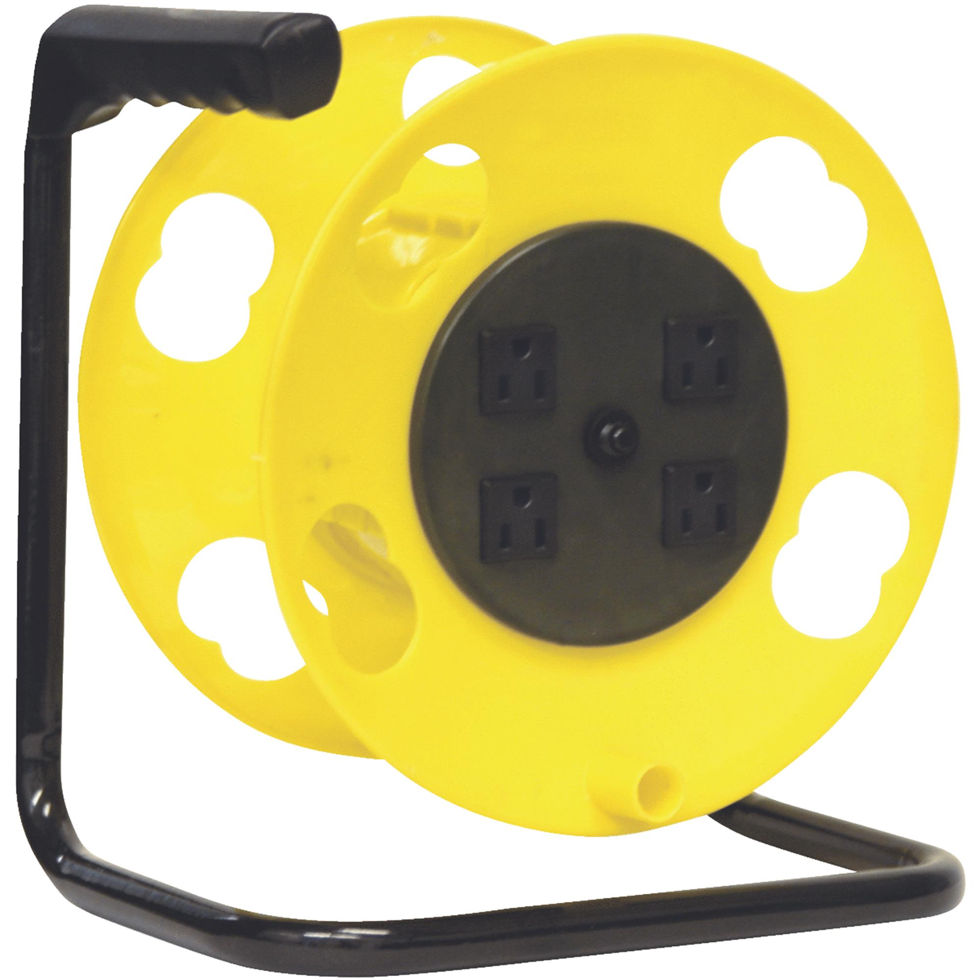 Bayco SL-2000PDQ Cord Storage Reel with 4 Outlets and Resettable 15A Circuit Breaker
