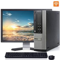 """Dell Optiplex Desktop Computer SFF Tower with Intel Quad Core i5 Processor 8GB 500GB HD DVD Wifi Bluetooth Windows 10 Pro 19"""" LCD with Keyboard and Mouse - Refurbished"""