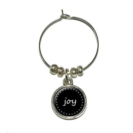 Joy on Black Wine Glass Charm
