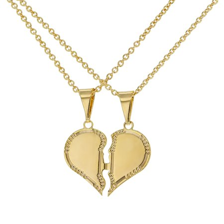 21db7ef8b7 In Season Jewelry - 18k Gold Plated His Hers Love Heart Couple Sweetheart Pendant  Necklace 19