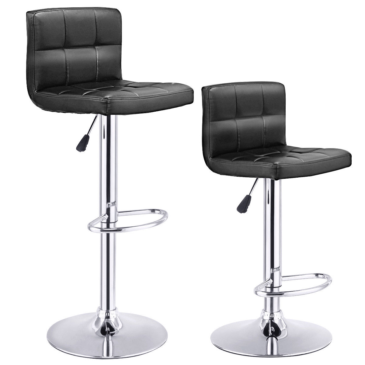 Costway Set Of 2 Bar Stools PU Leather Adjustable Bar Stool Swivel Pub Chairs Black by Costway