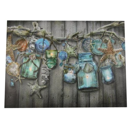 LED Lighted Flicker Flame Hanging Candle Lanterns Nautical Canvas Picture, Add this Nautical Piece of Lighted Canvas Art to a Wall in your Home,.., By OWINC (Hanging Flame Light)