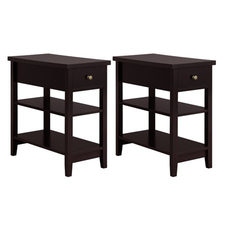 Topeakmart 2 PCS 3-Tier End Table Modern Side Table Vintage Night Stand Bedside Table with Storage Shelf Drawer Espresso