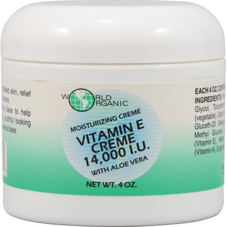 World Organics La vitamine E Crème 14,000IU - 4 oz