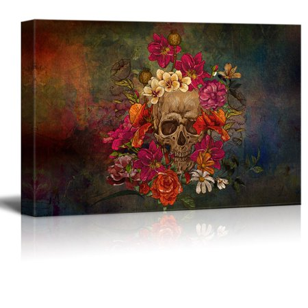 wall26 Canvas Print Wall Art - Day of the Dead (Dia De Los Muertos) Themed Skull with Flowers - Gallery Wrap Modern Home Decor | Ready to Hang - 24x36 inches (Home Decor Themes)