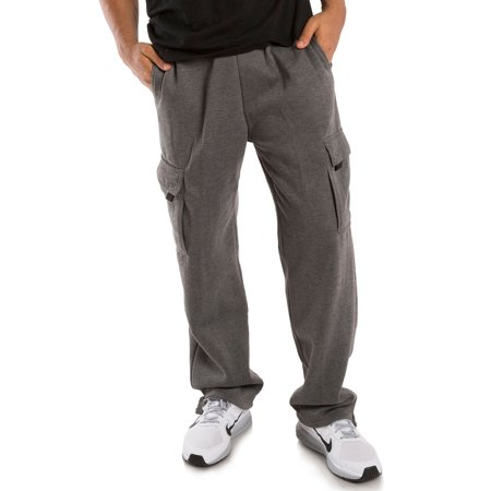 Vibes ProActive Mens Charcoal Fleece Relax Fit Cargo Pants Drawstring Male Adult