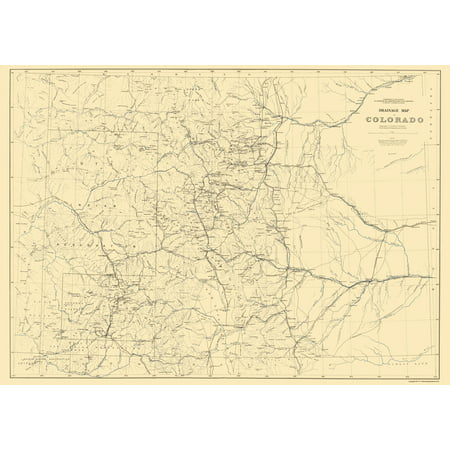 Old State Map   Colorado Drainage   Hayden 1881   23 X 32 32