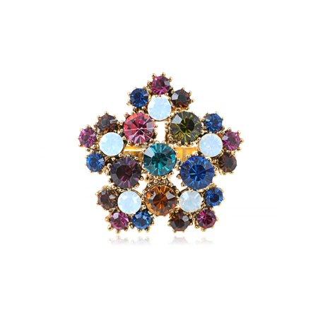 (Golden Tone Multi-Coloured Genuine Rhinestone Bursting Flower Adj Fashion Ring)
