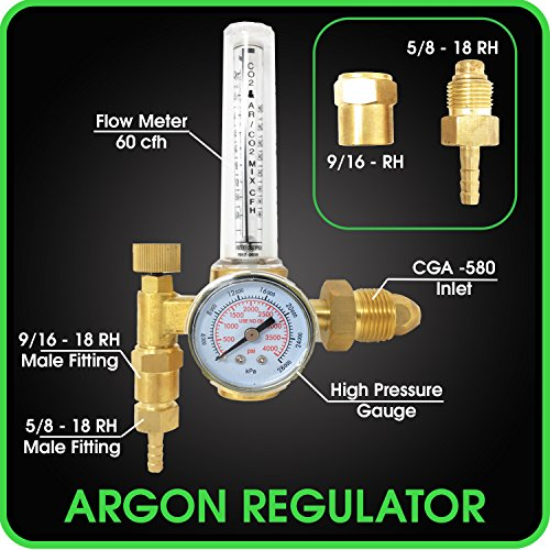 Argon Regulator TIG Welder MIG Welding CO2 Flowmeter 10 to 60 CFH 0 to 4000 psi pressure gauge CGA580 inlet... by