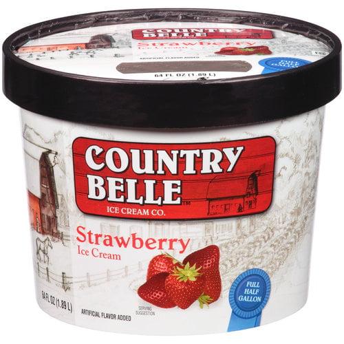 Country Belle Strawberry Ice Cream, 64 fl oz