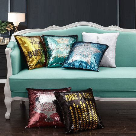 "Mainstays Reversible Sequin Birthday Decorative Throw Pillow 17 "" x17"", Cupcake, Multiple Colors"
