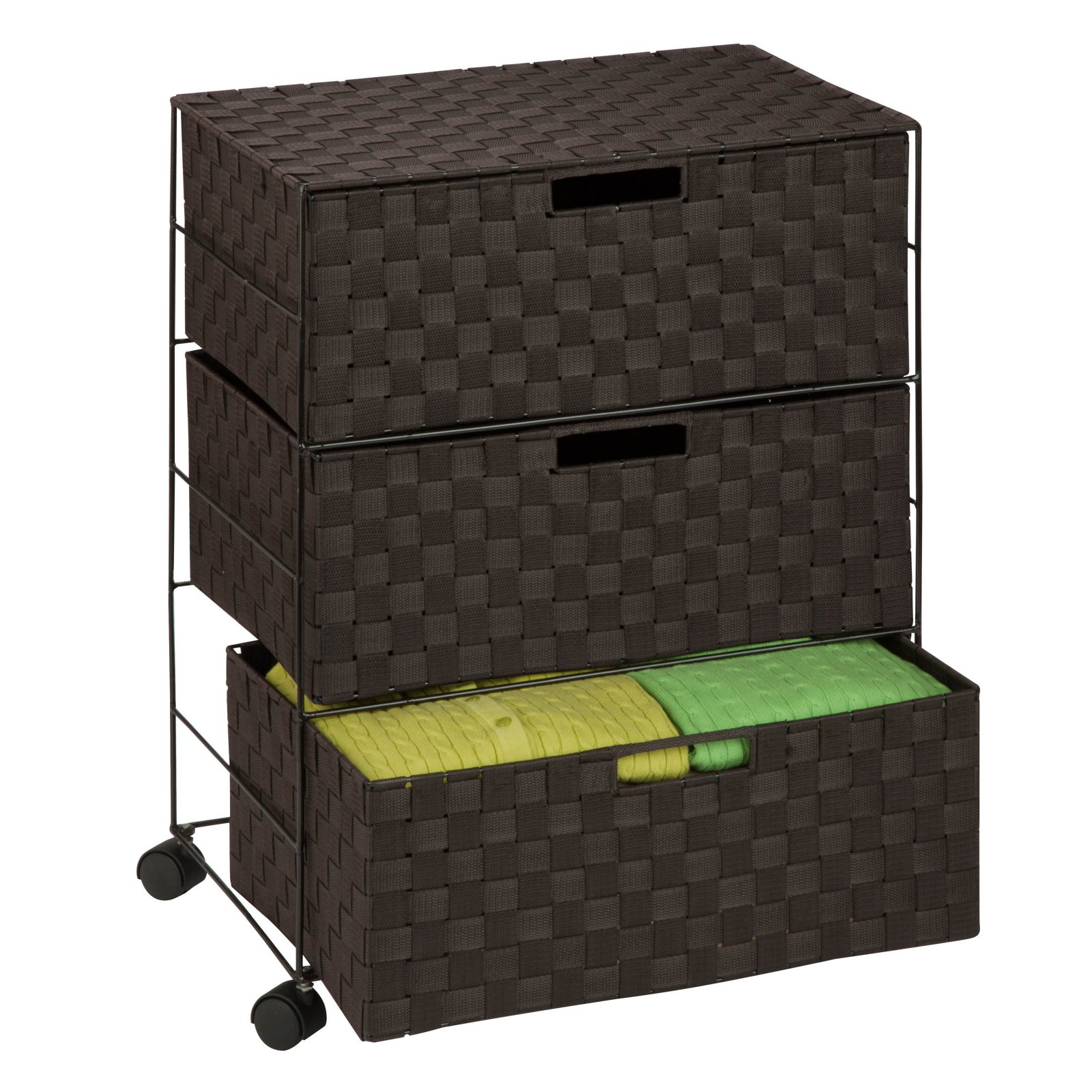Honey Can Do Rolling Wire Chest with 3 Double-Woven Drawers, Espresso