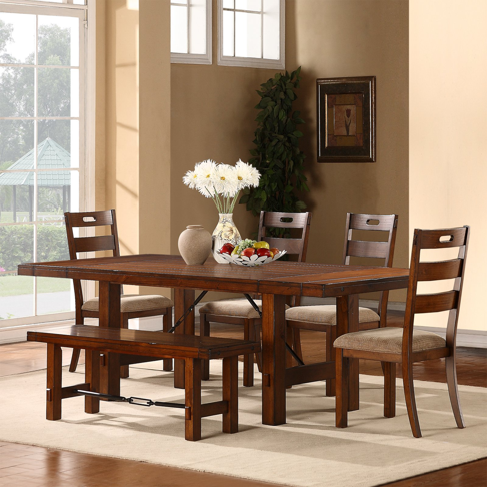 Weston Home Clayton 6 pc Dining Set, Rustic Oak