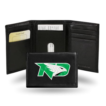 North Dakota Fighting Hawks NCAA Embroidered Team Logo Black Leather Trifold (Dakota Black Leather)
