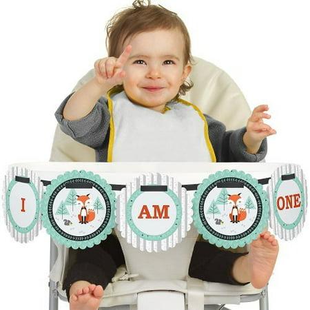 Atm Banner (Mr. Foxy Fox 1st Birthday - I Am One - First Birthday High Chair Banner)