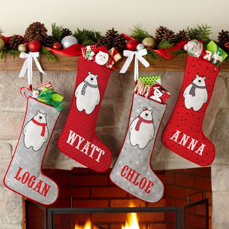 Personalized Pudgy Polar Bear Christmas Stocking, Available In 4 Designs