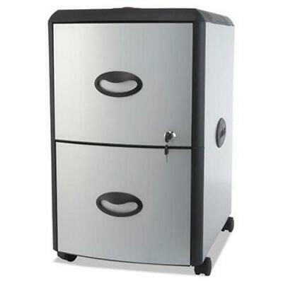 Storex 2-Drawer Mobile Filing Cabinet, Metal Siding, Silver/Black