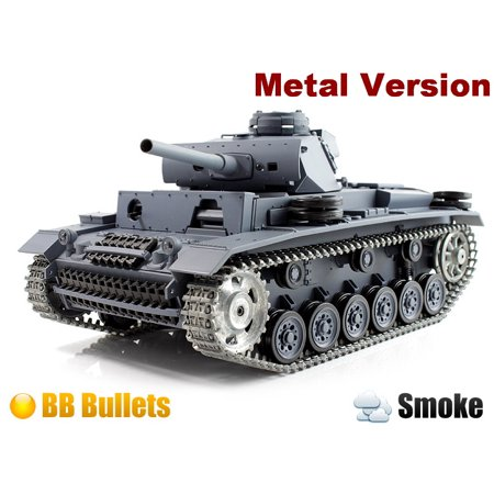 2.4Ghz Radio Remote Control 1/16 PanzerKampfwagen III Airsoft Battle Tank w/Sound & Smoke (Upgrade Version w/ Metal Gear & Tracks) RC RTR