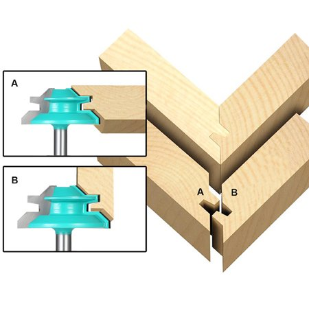 45 Lock Miter Router Bit 1 4 Shank 1 1 2 Diameter Wood Cutter For Wood Drilling Woodworking Tool