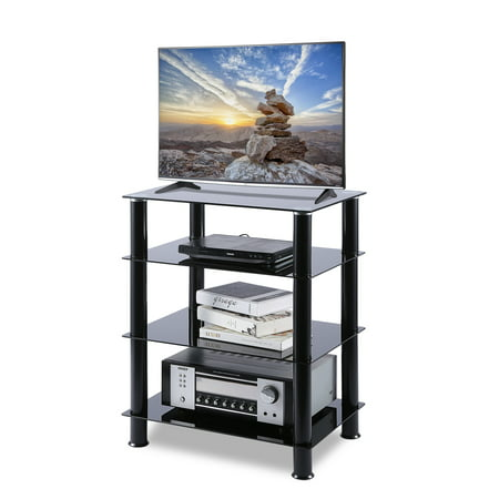 tavr furniture 4-tier media component stand audio cabinet hifi rack with glass shelf storage for xbox,plasysation,speakers,110lbs load capacity, hf1001 Audio Rack Storage Set