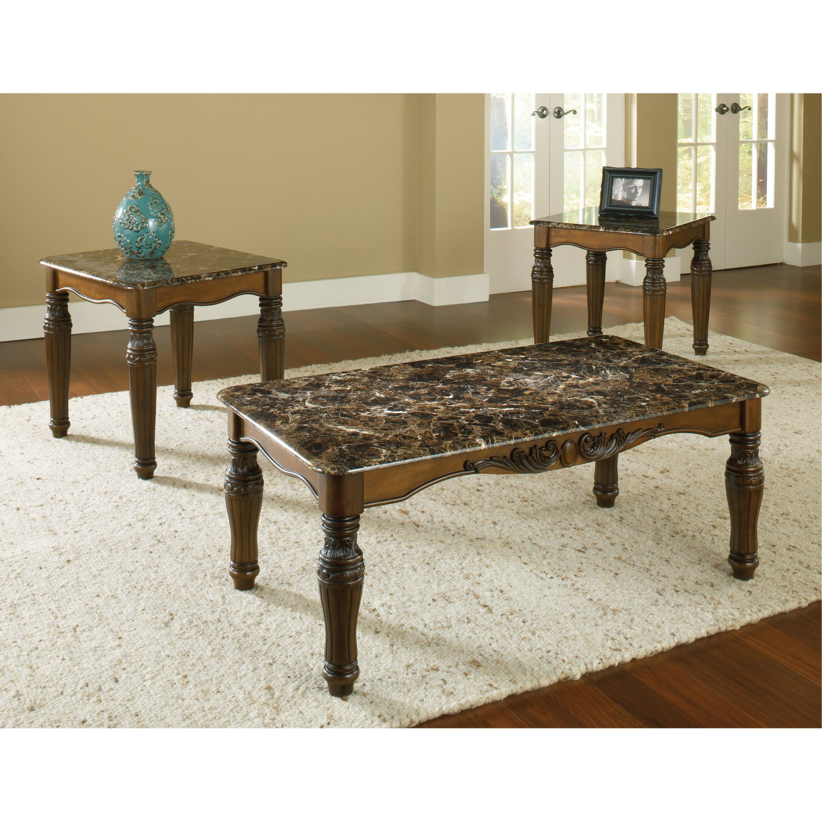 Bernards Dark Brown with Faux Marble Top - Set of 3