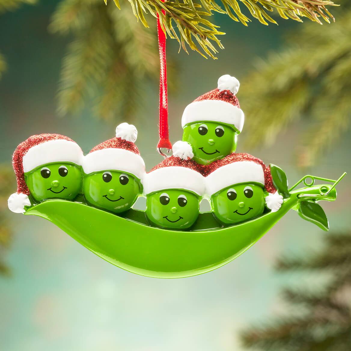Pea Pod Family of 2 3 4 5 6 7 8 9 Peas Personalized  Christmas Ornament