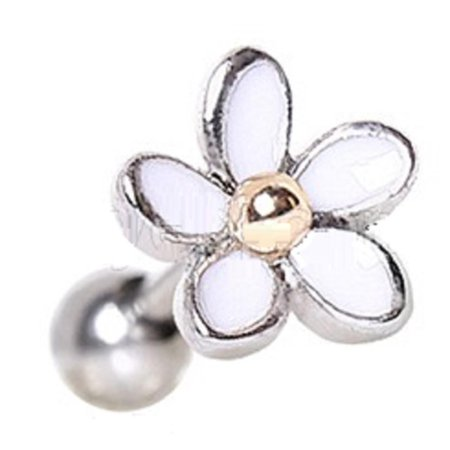 Tragus 316L Surgical Steel Sweet White Daisy Cartilage Earring 16g - Tragus Earring