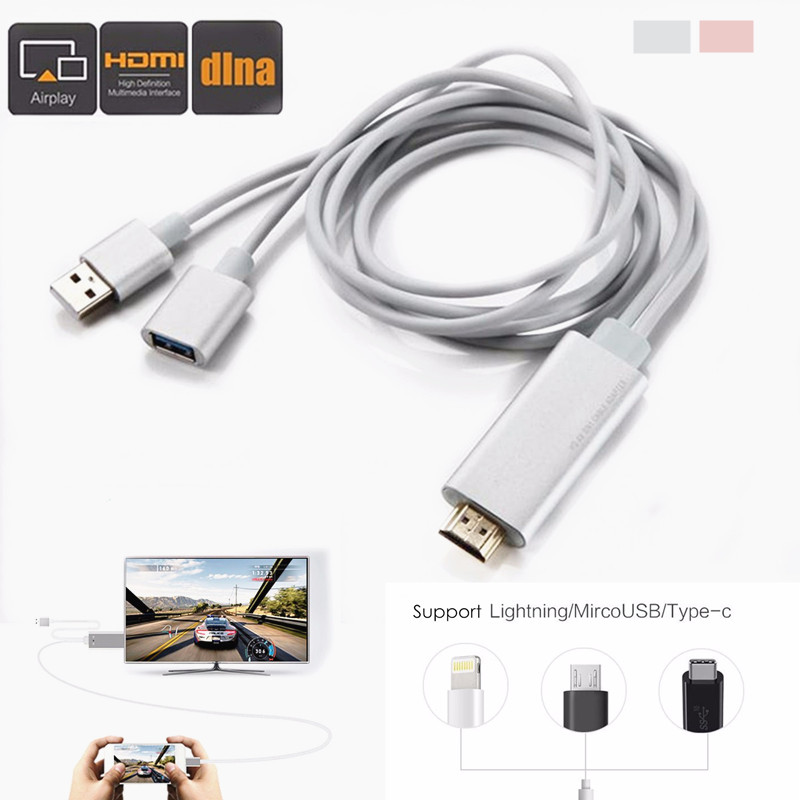 6.6ft Aluminum Wireless  Dongle to 1080P HDTV DLNA Airplay  Media Display Adapter Player Smart TV Dongle Cable for Andriod IOS TypeC IPhone/iPad DVD Samsung Projector PC  ,silver color