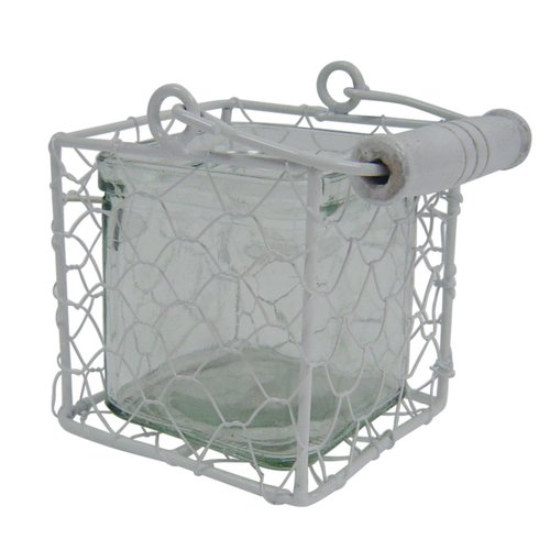 Cheungs Square Glass Jar in Wire Basket