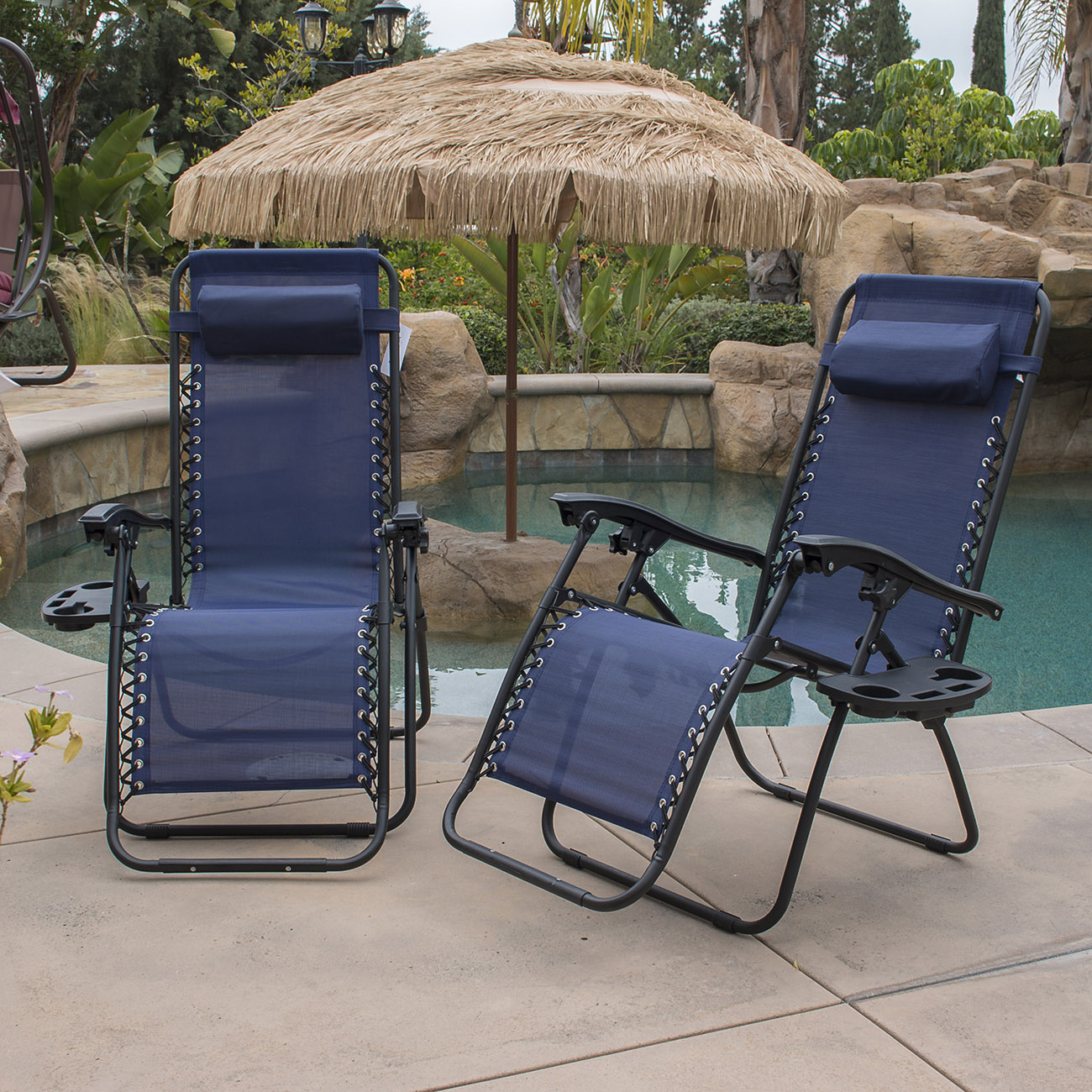 Belleze 2-Pack Zero Gravity Chairs Patio Lounge +Cup Holder/Utility Tray (Blue)