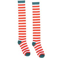 """Fun-Filled Christmas and Holiday Party Candy Cane Stripe Knee Socks , Red/Green/White, Fabric , 23 3/4"""", Pack of 2"""