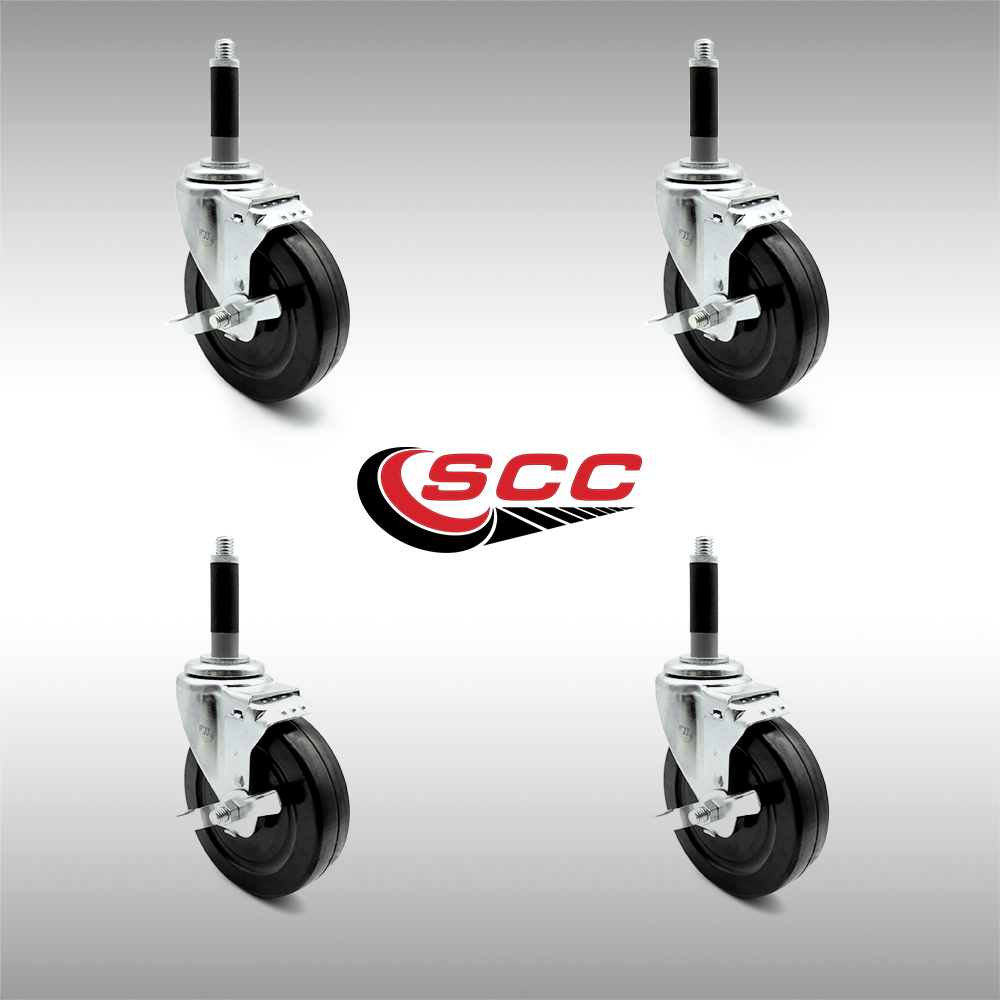 "Service Caster - Stainless Steel 5"" x 1.25"" Hard Rubber Wheel Casters w/3/4"" Expanding Stem w/Brake - Set of 4"