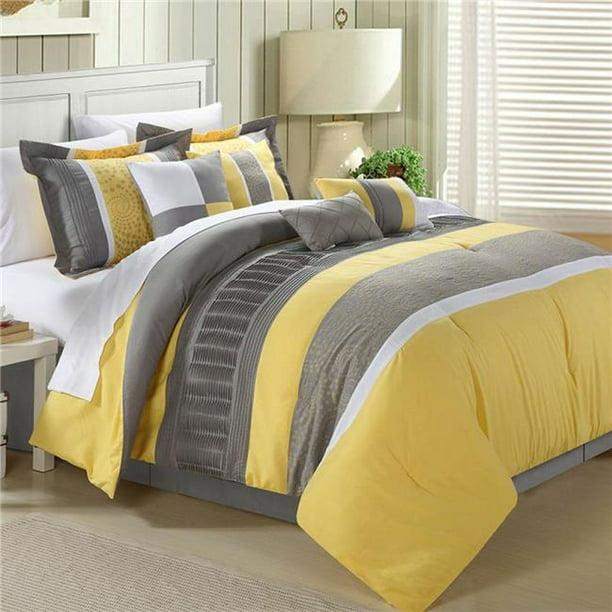 Euphoria Embroidered Comforter Set, Yellow King Bedding