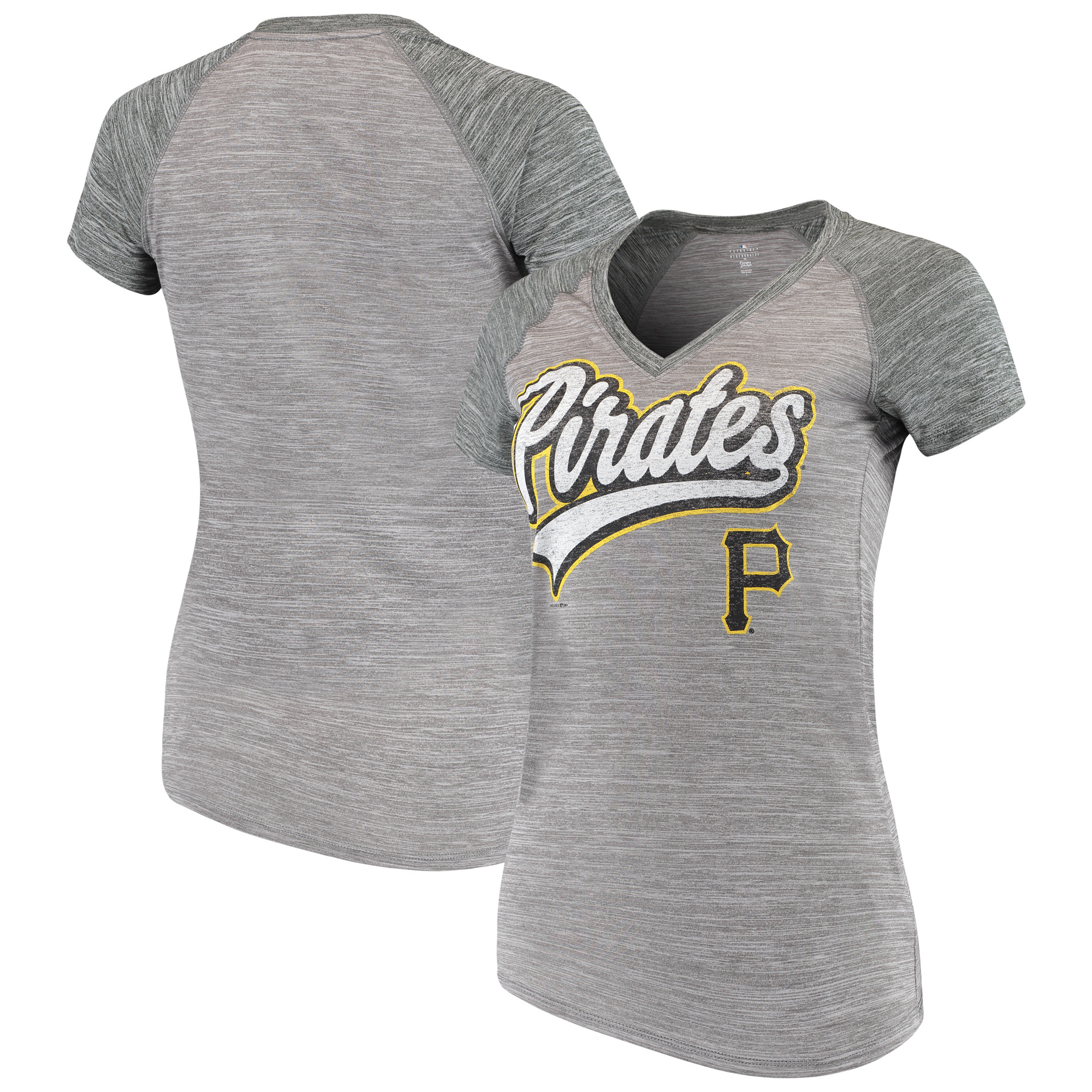 Women's New Era Gray Pittsburgh Pirates Space Dye V-Neck T-Shirt