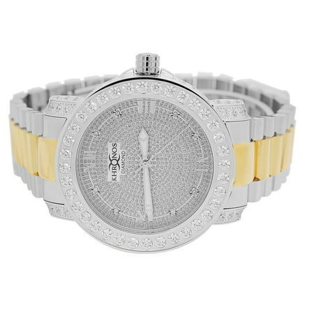Mens Gold-Tone Stainless Steel White and Yellow Watch with Iced out Stainless Steel Metal Band