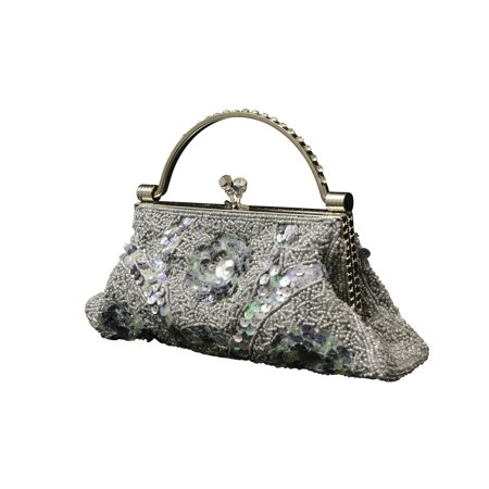 Fancy Style Womens Evening Purse - Beaded Sequin Design with Metal Frame PS478 - Beaded Purse Designs