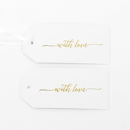 Koyal Wholesale Gift Tag For You With Love Gold Foil Favor Tags, in Bulk 100-Pack Gift Tag Labels with Gift Tag Ribbon