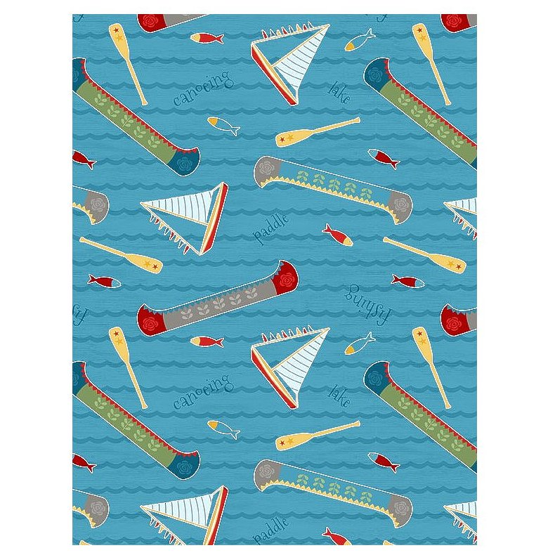 lake toss blue let 39 s go glamping cotton fabric for wilmington prints. Black Bedroom Furniture Sets. Home Design Ideas