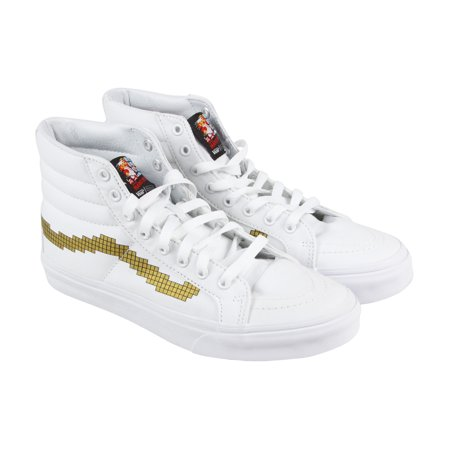 Vans Sk8 Hi Slim Mens White Canvas High Top Lace Up Sneakers Shoes (Cool Lace Designs For Vans)