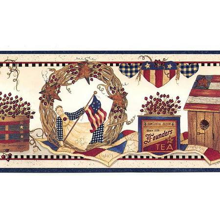 878236 Patriotic Country Collectibles Wallpaper Border