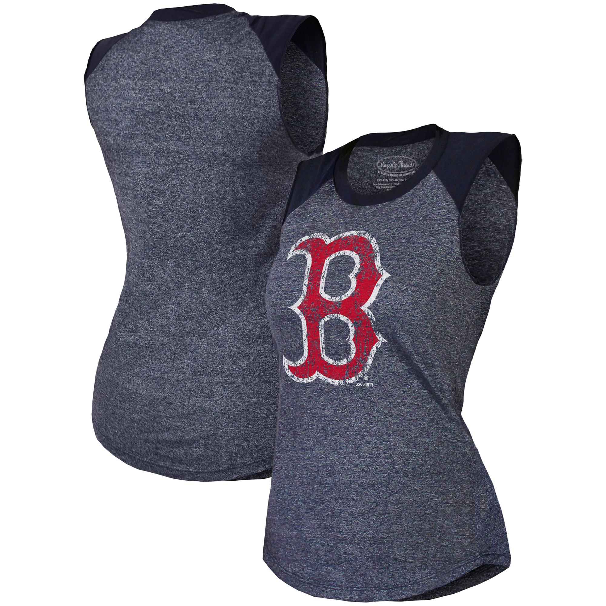 Boston Red Sox Majestic Threads Women's Raglan Tri-Blend Muscle Tank Top - Navy