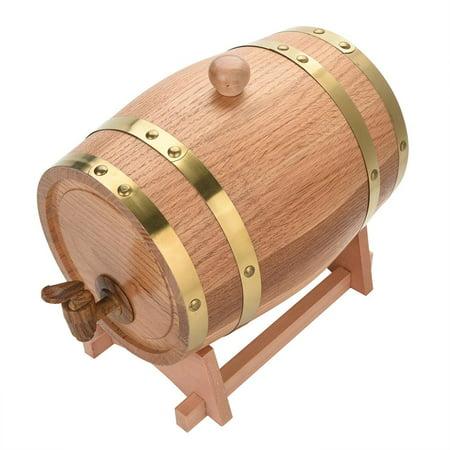 HERCHR Wood Oak Wine Barrel, 3L Vintage Wood Oak Timber Wine Barrel Dispenser for Whiskey Bourbon Tequila, Wine Barrel Dispenser